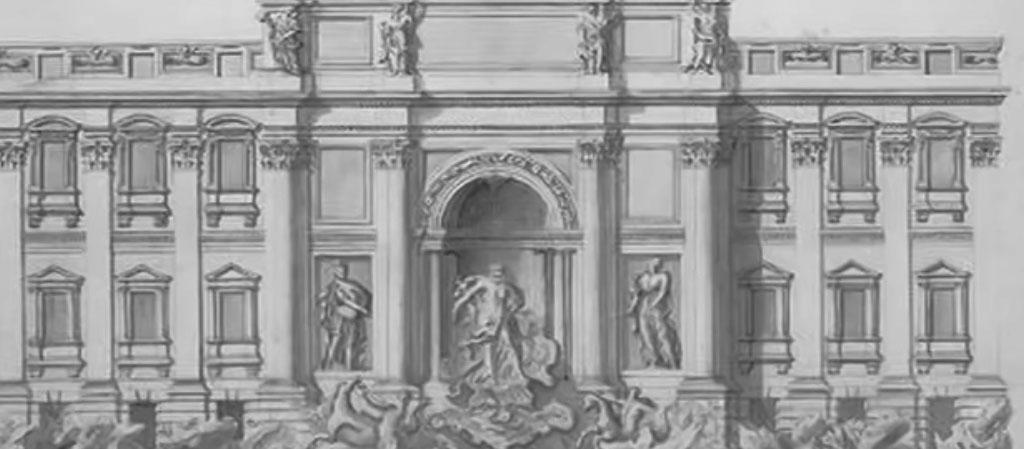 dibujo la fontana de trevi roma