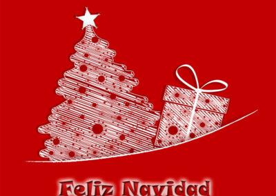 feliz navidad arbol y regalo